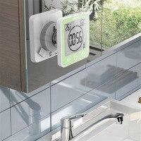 ЖК-дисплей цифровой водостойкий для воды Брызги настенные часы для ванной часы для душа Таймер Температура Влажность кухня для ванной комн...