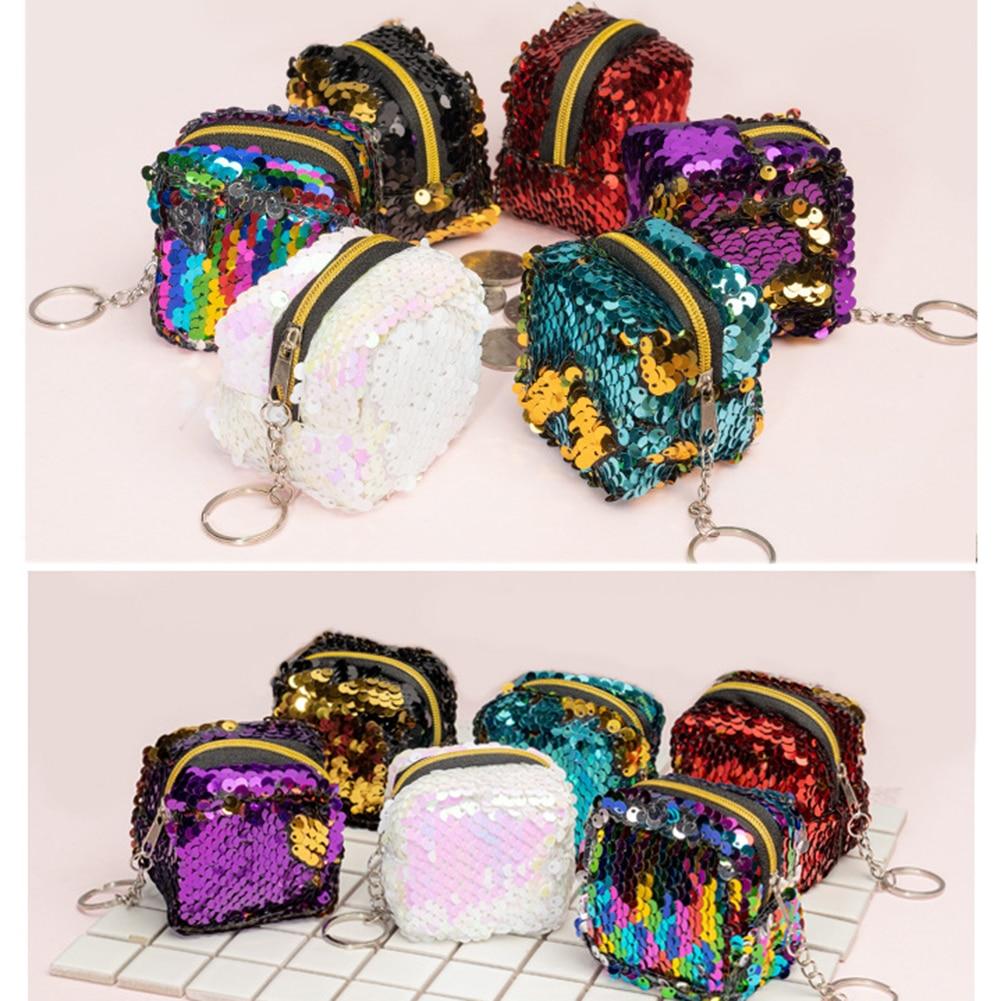 New Women Girls Flamingo Coin Purse Glitter Sequins Coin Bag Small Wallet Mini Change Pouch Card Holder Money Bags Kids Gift
