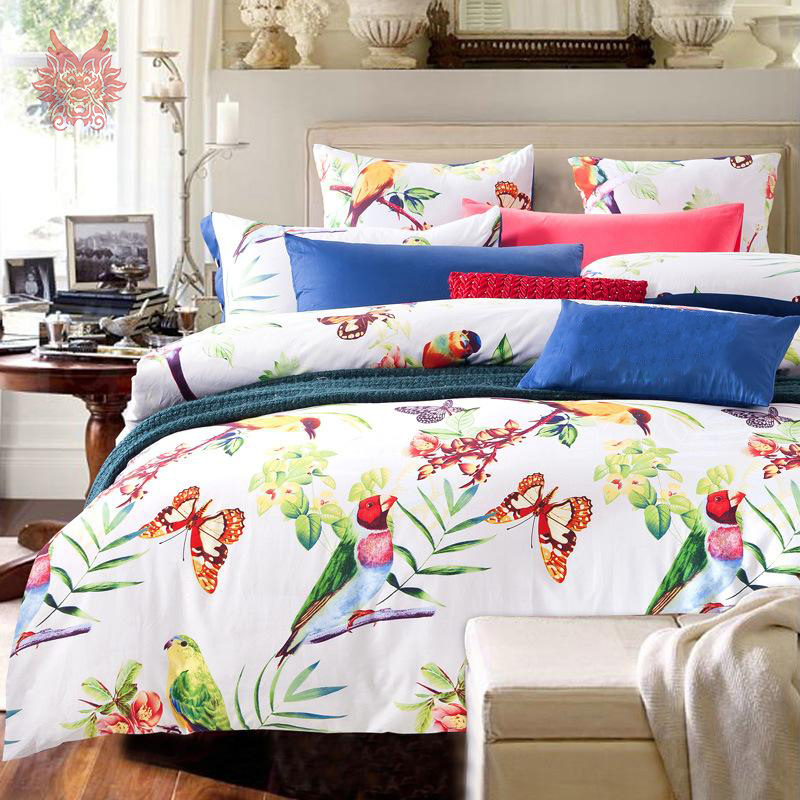 Free Ship American Rustic Floral Bird Print Pure 100