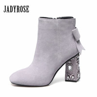 Jady Rose Luxury Suede Ankle Boots For Women Rhinestones Square Toe Chunky High Heels Bowtie Decor