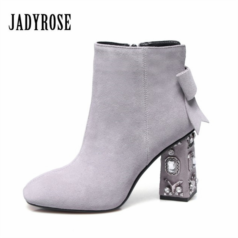 Jady Rose Luxury Suede Ankle Boots for Women Rhinestones Square Toe Chunky High Heels Bowtie Decor Female Autumn High Boots enmayla autumn winter chelsea ankle boots for women faux suede square toe high heels shoes woman chunky heels boots khaki black