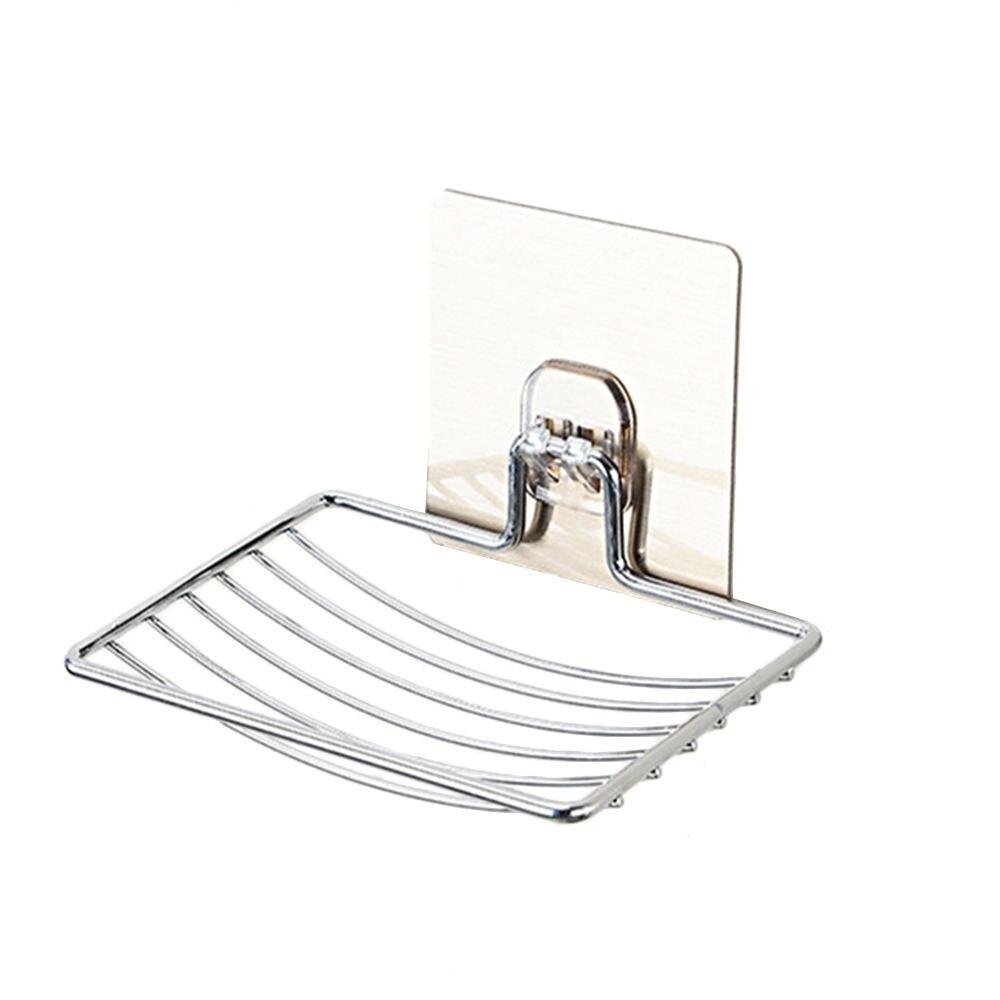 Soporte para jabonera de acero inoxidable plato de rejilla para jabón autoadhesivo bandeja de ducha astilla para accesorios de baño de cocina