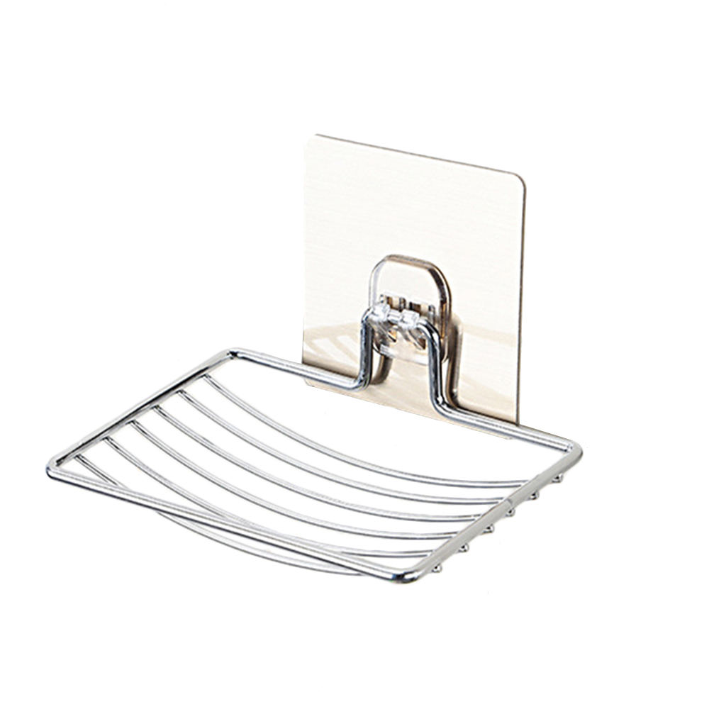 Stainless Steel Soap Dish Holder Self Adhesive Storage Soap Rack Plate Sliver Shower Tray For Kitchen Bathroom Accessories
