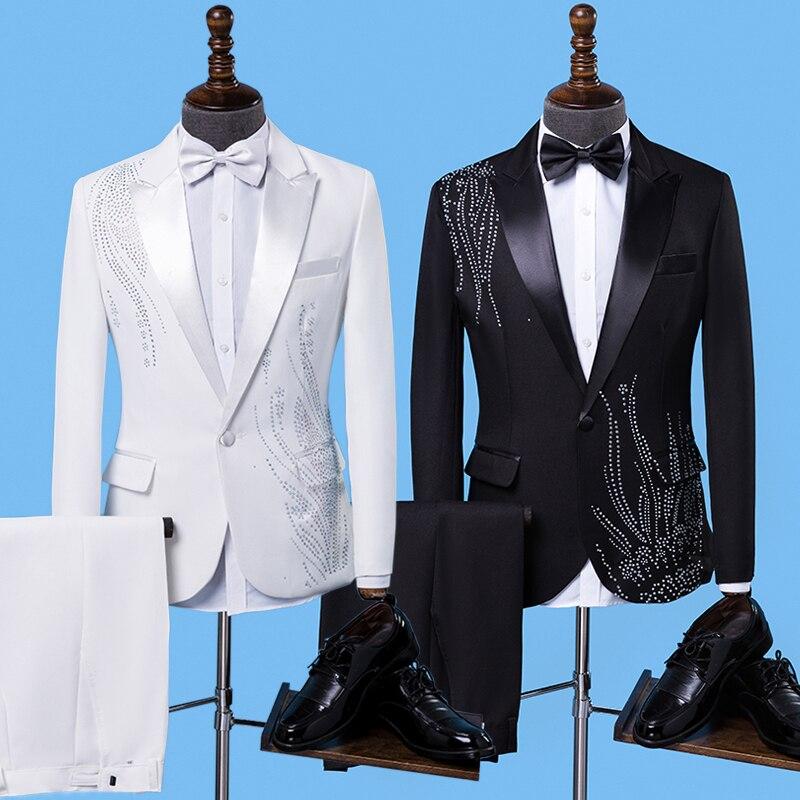 Nouveau mode hommes costumes noir broderie Blazers Slim Fit rouge blanc/noir costumes de mariage affaires mâle Tuxedos simple boutons costume