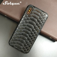 Solque Natural Real Genuine Cow Leather Slim Hard Cover Case For IPhone X 10 Case 3D
