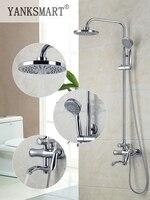 Yanksmart Латунь Chrome Ванная комната Для ванной накладные ручной душ Мыло держатель Раздвижной Бар, Набор 8 дюймов Насадки для душа Тропический Д