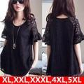 XL,XXL,XXXL Lace Blouse 2016 New Big Plus Size Summer Sexy Women Shirts Top Tunics Kimonos Femme Casual Blusas Black