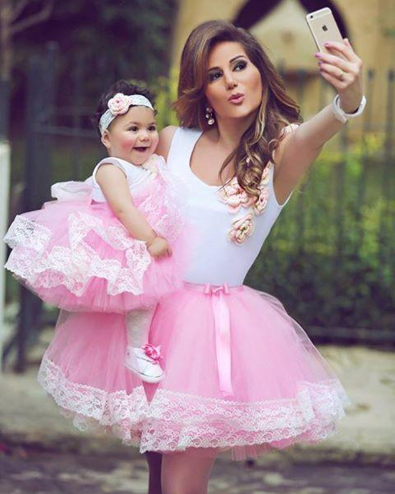 Lovely Cute Pink Mother And Daughter Wedding Party Dresses Short ...