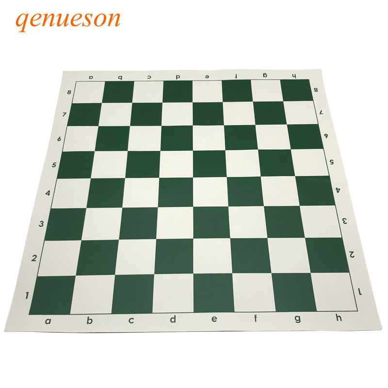 New High Quality Chessboard Set 51cm* 51cm Green PVC Material Chess Game Accessories Portable Soft Standard Board Games Qenueson