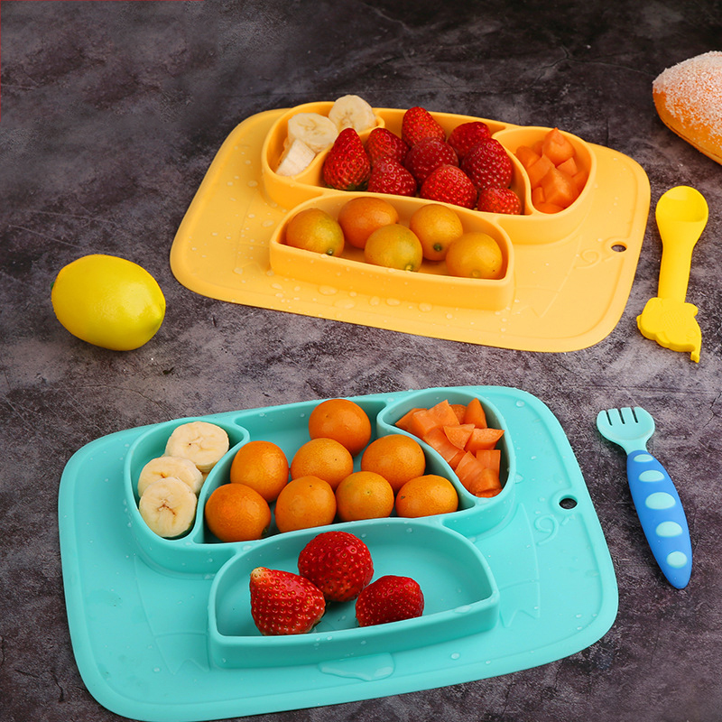 Qshare Baby Plate Feeding Container Placema Tableware Children Food Baby Dishes Infant Feeding Cup Silicone Suction Bowl For Kid