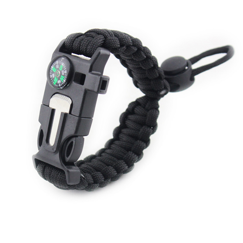 1 Pcs Paracord Emergency Bracelet Multifunction Camping Field Survival Escape Tactics Wilderness Survival Wrist Strap For Hiking