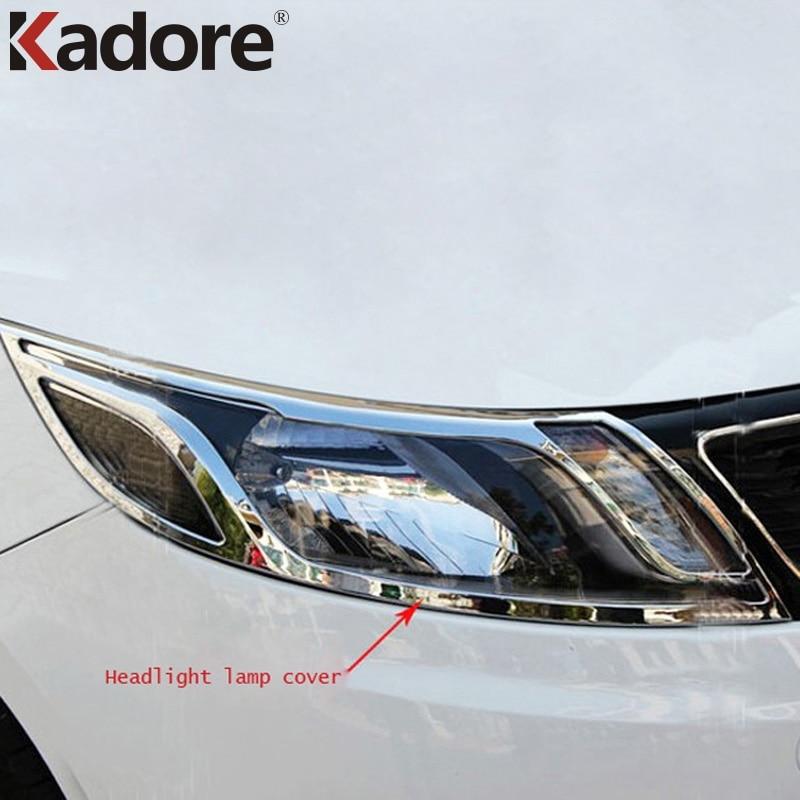For Kia Rio K2 2011 2015 ABS Chrome Headlight Cover Car Head Front Light Lamp Covers