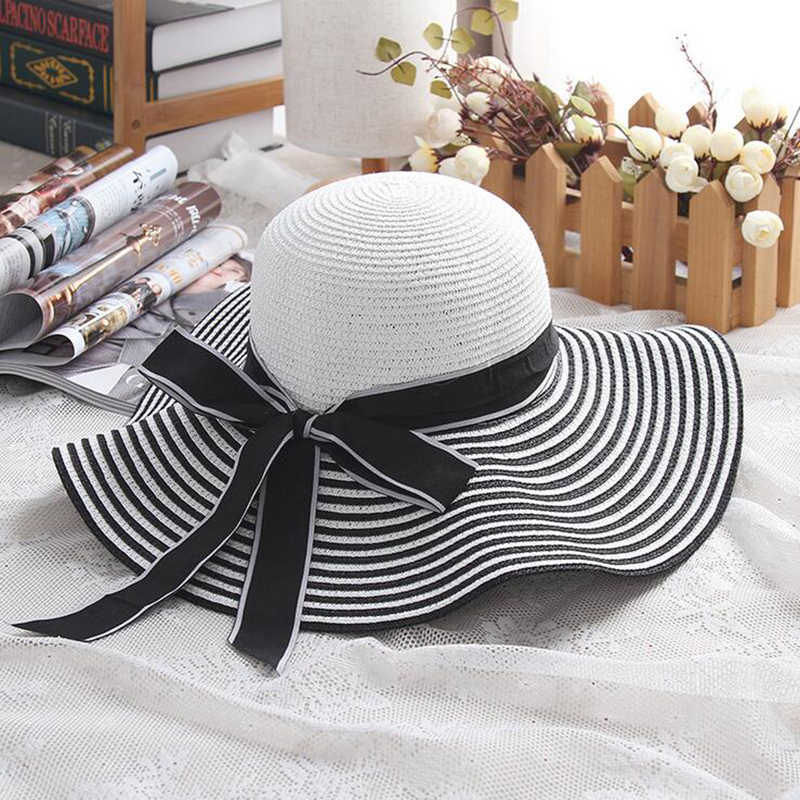 aaeecaff Hot Sale Fashion Hepburn Wind Black White Striped Bowknot Summer Sun Hat  Beautiful Women Straw Beach