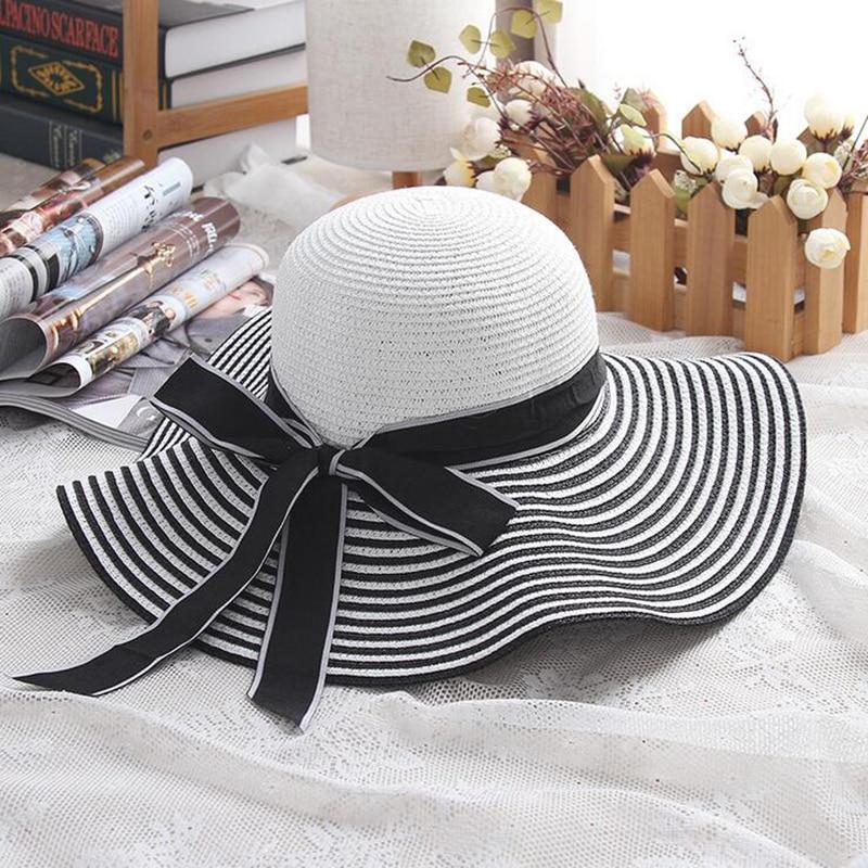 Лидер продаж, модная шляпа Хепберн в черно белую полоску с бантом, летняя Солнцезащитная шляпа, красивая женская Соломенная пляжная шляпа с большими полями|hat large|beach hatfashion beach hat | АлиЭкспресс