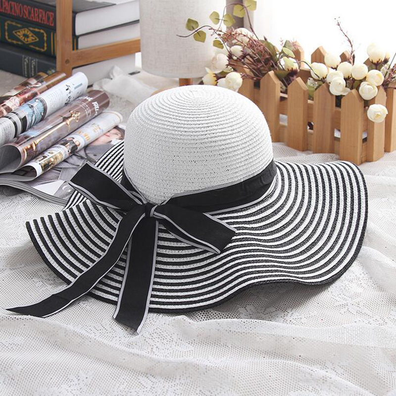 Hot Sale Fashion Hepburn Wind Black White Striped Bowknot Summer Sun Hat Beautiful Women Straw Beach Hat Large Brimmed Hat