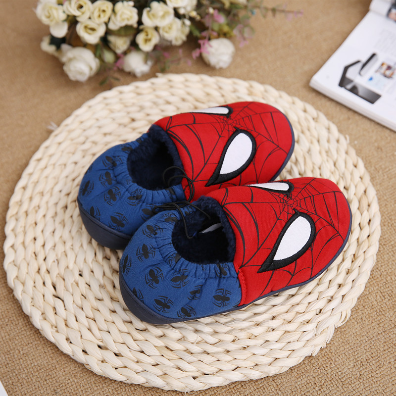 Disney slippers winter todder spiderman home slippers baby boy warm plush shoes cartoon animation floor pantuflas terlik (14)