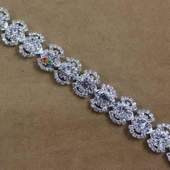 1 yarda 18mm cristal claro checo Rhinestone Cadena de plata Set para DIY browband dress shoes Bags Diamante faja de aplicación Trims