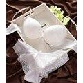 Chegada nova japonês sexy lingerie de renda mulheres profundo decote em V push up confortável conjunto de sutiã cor sólida do vintage ABC copo