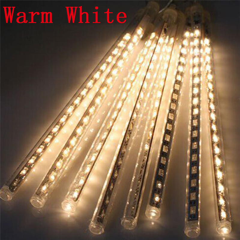 8pcs Set DIY Meteor Shower String 30cm Blue White Multi Color LED Light Strings For Holiday Christmas Decoration US EU Plug in Lighting Strings from Lights Lighting