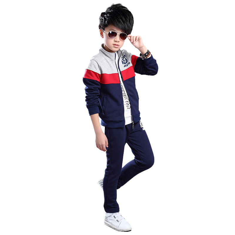 New Children's Tracksuit Mandarin Collar Zipper Cardigan Sets Boys Clothes Casual Spell Color Long Sleeve Sports Suit For A Boy
