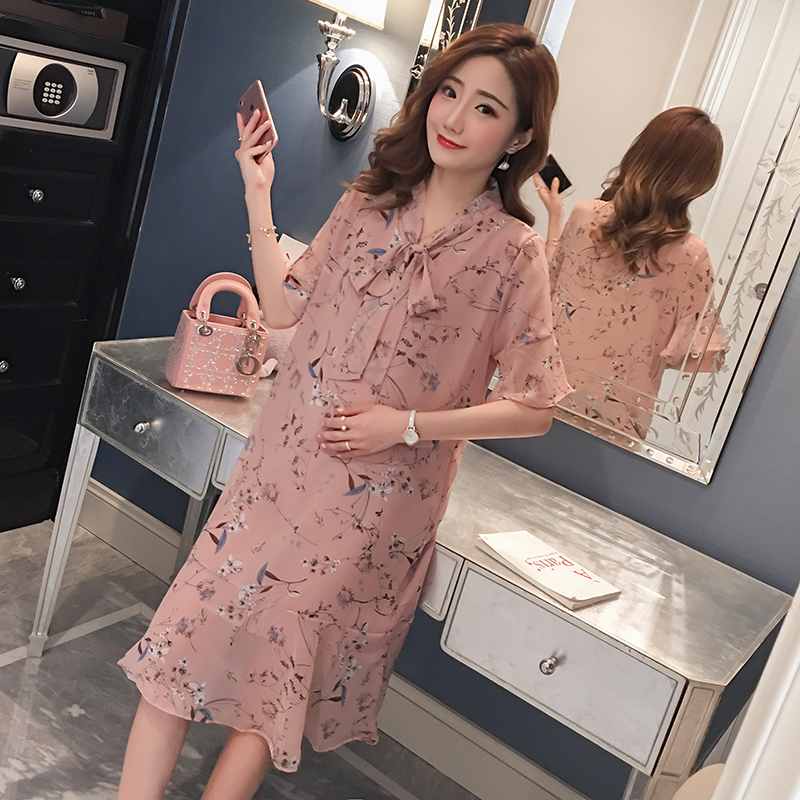 Summer Floral Maternity Clothes Formal Pregnancy Dress 2018 Chiffon Flower Print Pregnancy Clothing Of Pregnant Women Vestidos