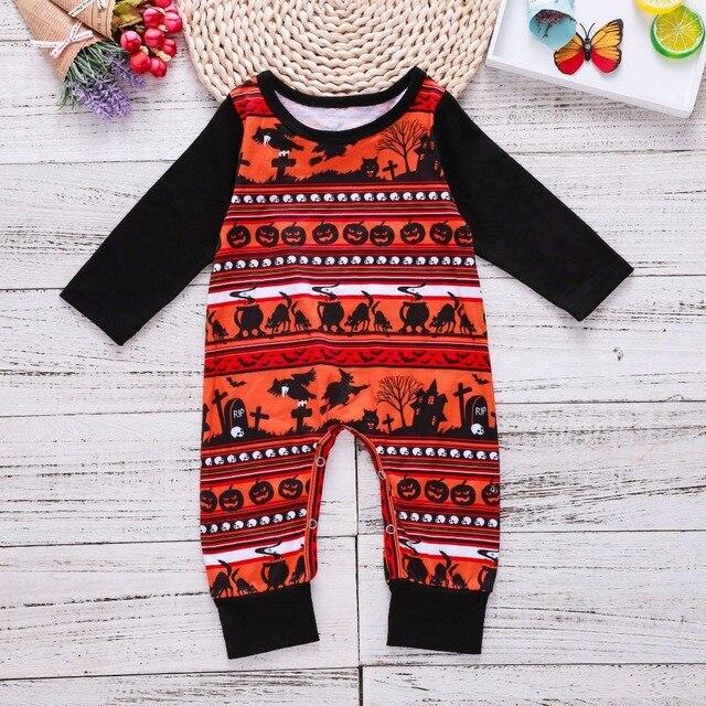 49c1c9409be Toddler Halloween Costumes Pumpkin Romper Long Sleeve Black Polyester  Cotton Baby Onesie Jumpsuit Children Toddler Girl Winter