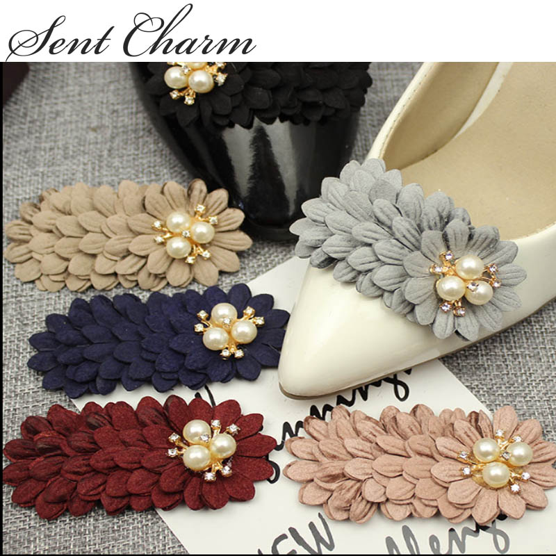 SENTCHARM 1 Pair Crystal Womens Shoes Decoration High-end Fashionable Accessory 6 Colors