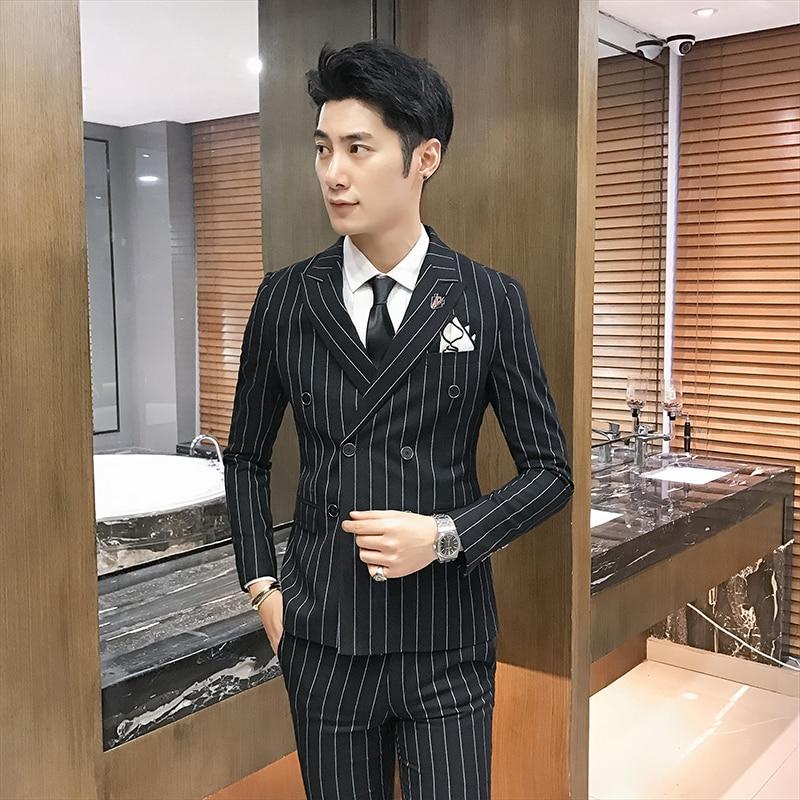 À gris Boutonnage Pièces Affaires bleu Mode Trois Double Hommes Costumes Mâle Rayures Noir Pantalon Gilet Marié Robe De vestes Formelle Costume xO18RqvOw