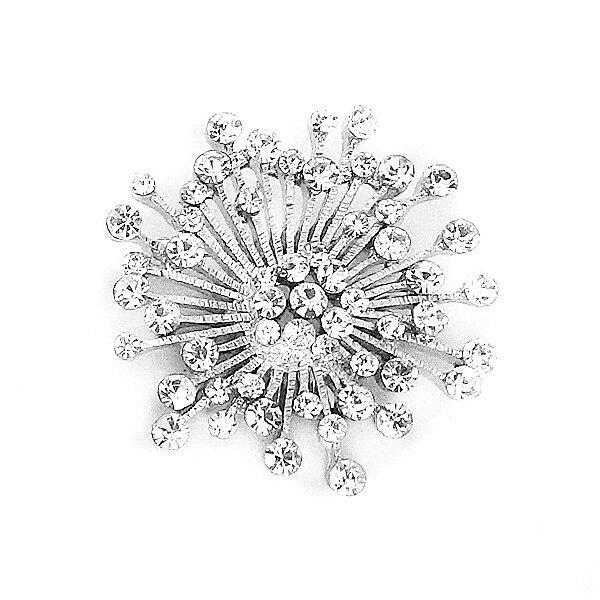 f51f98e55031 Plata al por mayor del rodio plateado claro cristal rhinestone pequeño ramo  tamaño Broches y Pasadores regalo