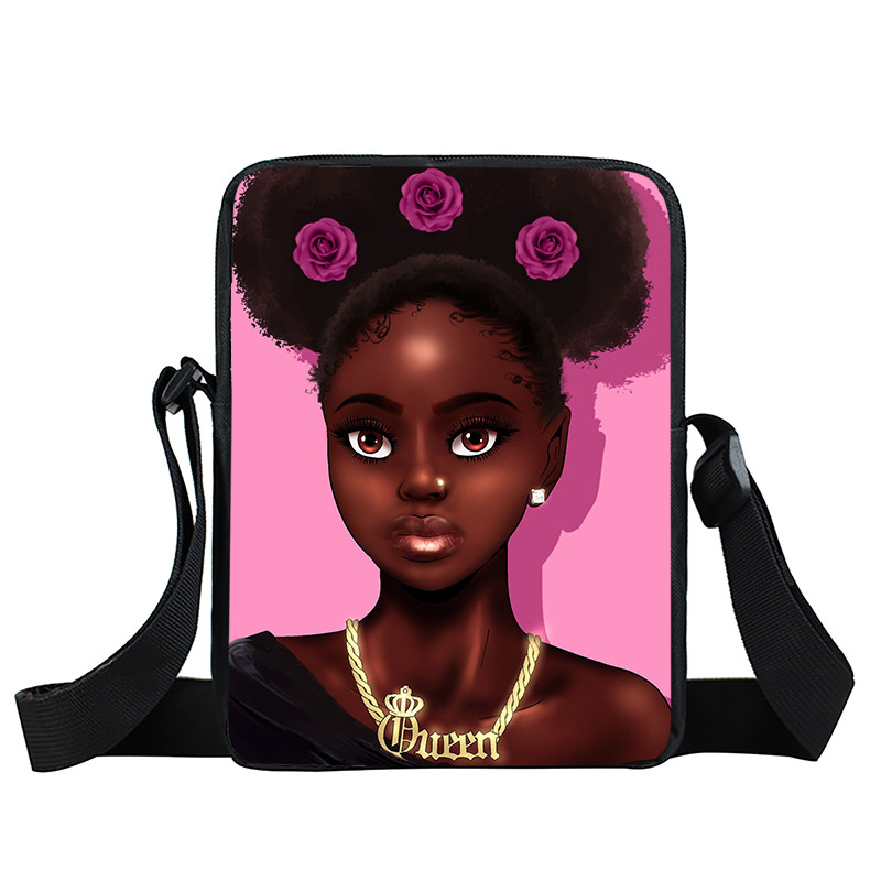 Afro Lady Girl messenger bag Africa Beauty Princess small shoulder bag brown women handbag mini totes teenager crossbody bags 45