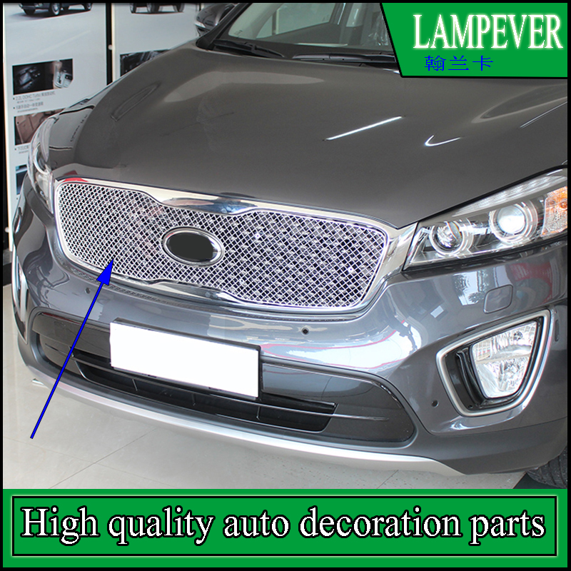 Car styling Stainless Steel Front Bumper Honeycomb Grille Trim For KIA Sorento L 2015 2016 Center