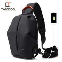 Tangcool Fashion Men Messenger Bag Men USB Charging Design Man Chest Bag Pack Anti Theft Shoulder Crossbody bags for Teenage