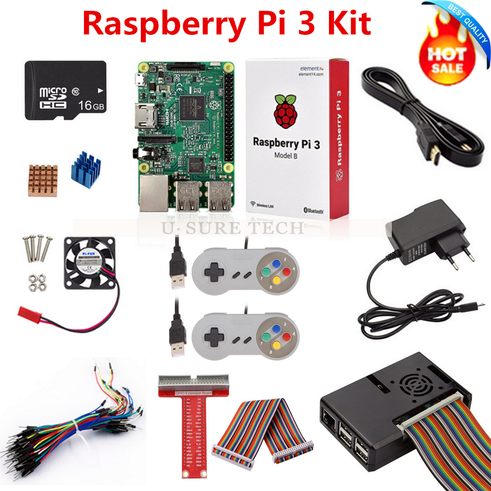 Raspberry Pi 3 B Board 16G SD Card Power Adapter Game Controller HDMI Cable Case Heat