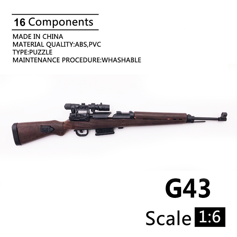 1:6 G43 Semi-automatic Rifle Gun Model Coated Plastic Military Model Accessories For 12