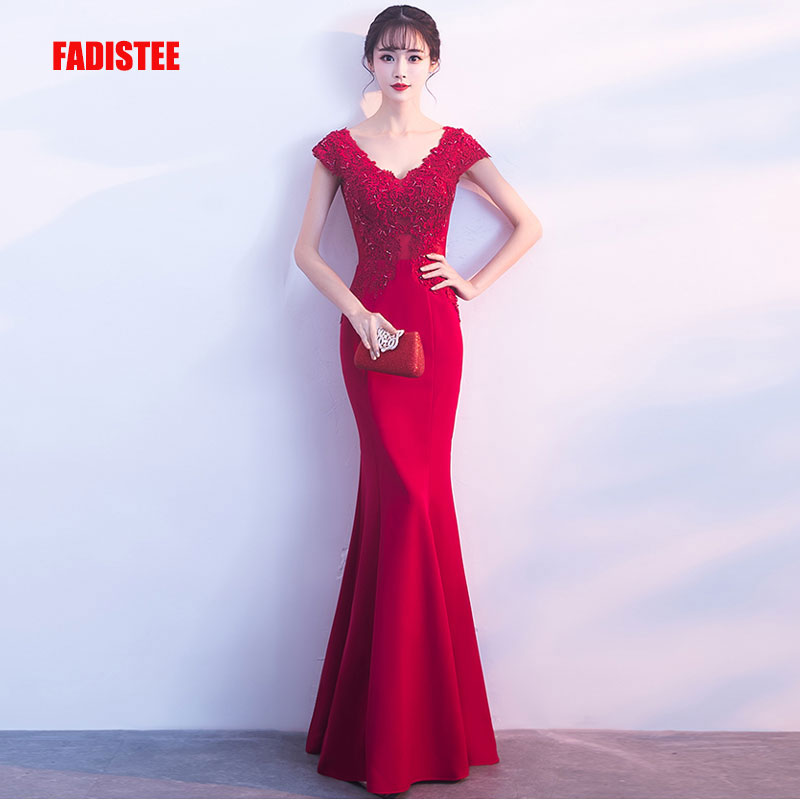 FADISTEE New arrival party elegant evening   dresses   Vestido de Festa   prom     dress   Robe De Soiree cap sleeves lace satin