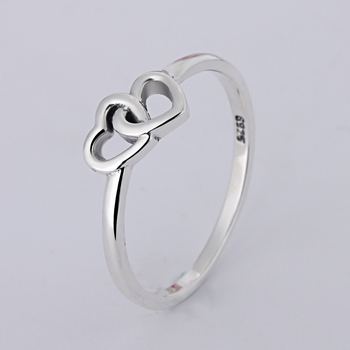 A wholesale Sale Fashion jewelry jewelry Pave Setting charm Double Heart 925 silver Retro woman Ring Ring