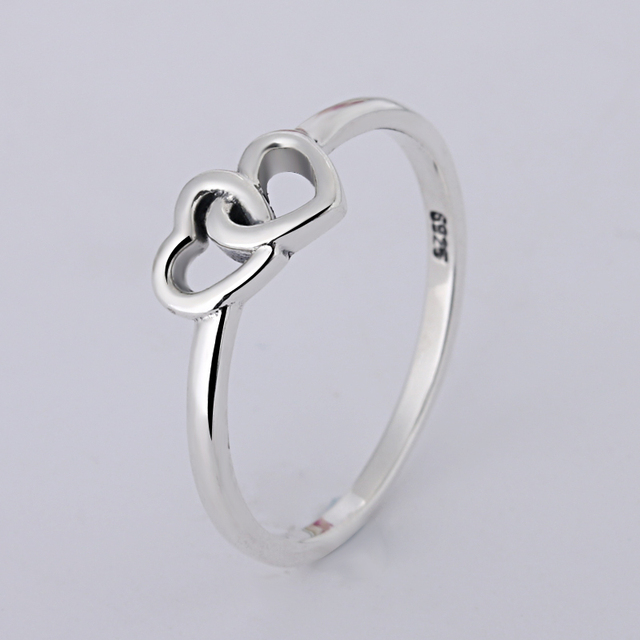 A wholesale Sale Fashion jewelry jewelry Pave Setting charm Double Heart 925 sil
