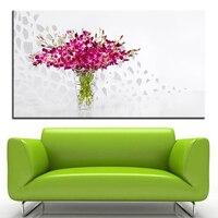 Grandi dimensioni di Stampa Pittura A Olio viola orchidee in vaso di vetro Della Parete pittura Decor Wall Art Picture For Living Room pittura No telaio