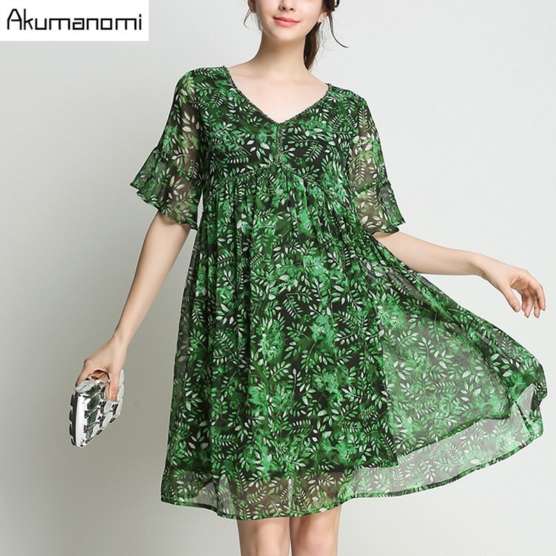 Boho Dress Chiffon Grass Green V neck Flare Short Sleeve Diamonds Ruffle Knee Length Summer Dress