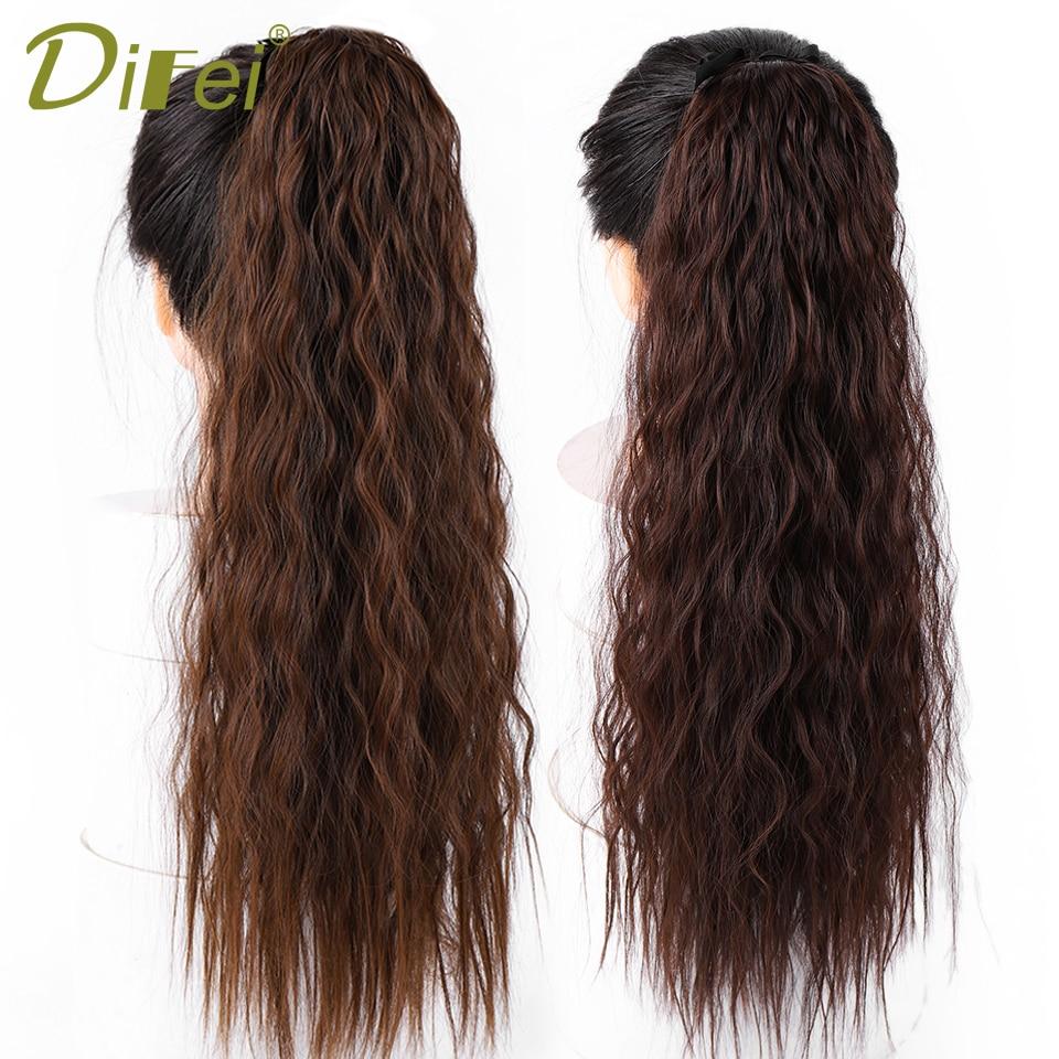 Difei Long Deep Wave Drawstring Ponytail Clip In Hair -8758