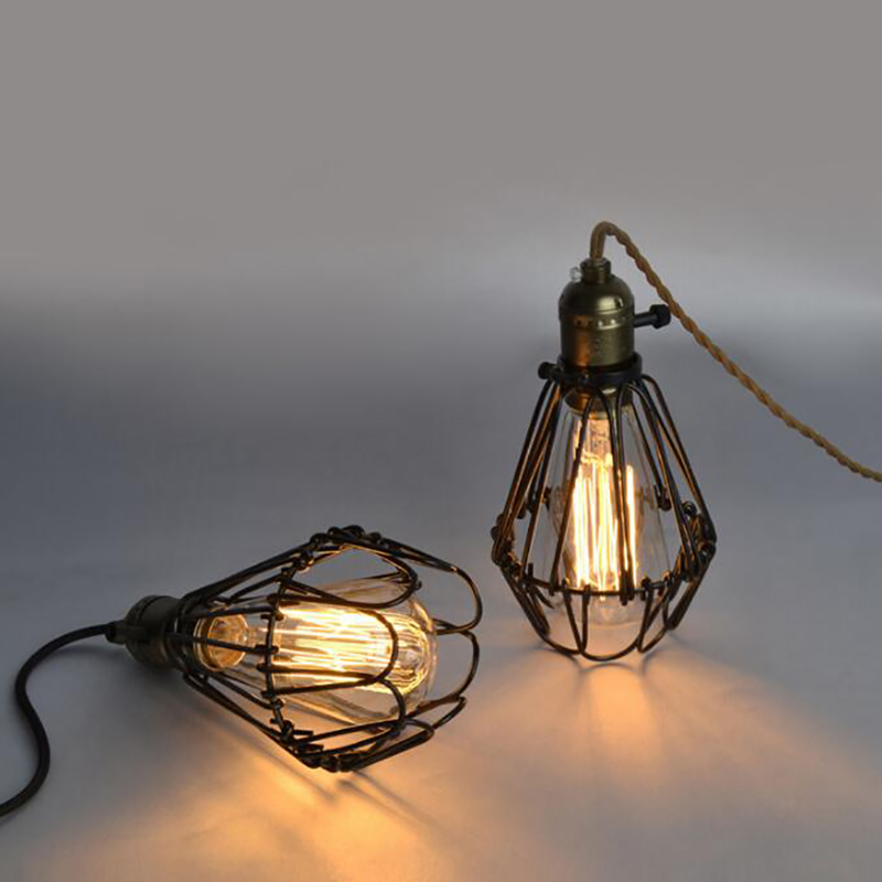 Metal cages pendant lamp Industrial Warehouse Style Antique Loft Covers Guard Wire Cage Pendant Light Fixture diy antique brass retro guard wire cafe loft droplight fixture iron cage pendant light hanging fitting metal frame lamp holder