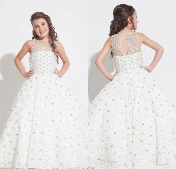 2015 Allover Featuring Beads Rhinestones Flower Girl Dress Pageant ...