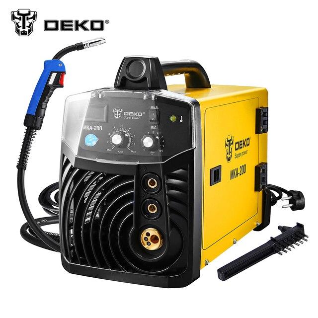 DEKO MKA-200 200A 4.9KVA IP21S inversor arco MIG 2 en 1 máquina de soldadura eléctrica w/reemplazable pistola de soldadura MMA soldador