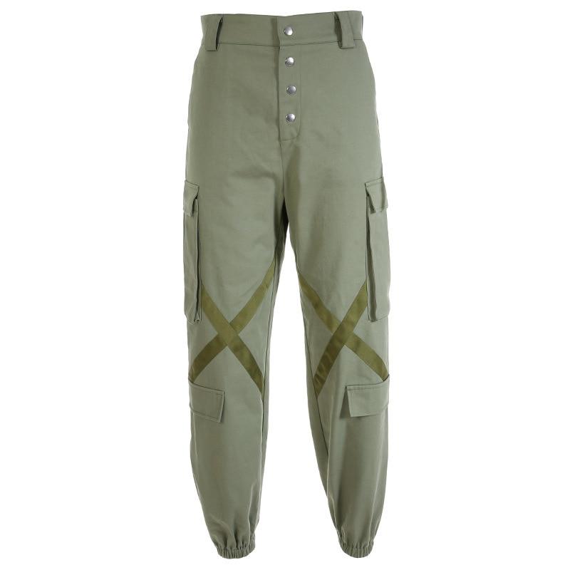 2019 последние весенние модные брюки карго женские с высокой талией Stresswear зеленые свободные рабочие брюки женские мужские Штаны Капри XM427 - 6