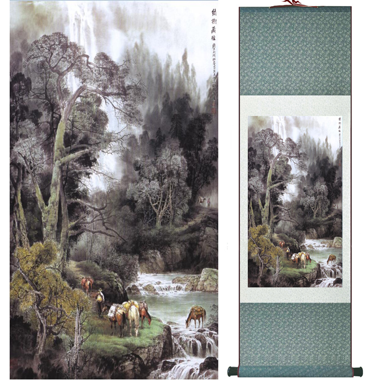 landscape painting Home Office Decoration Chinese scroll painting mountain and River paintingPrinted painting042201