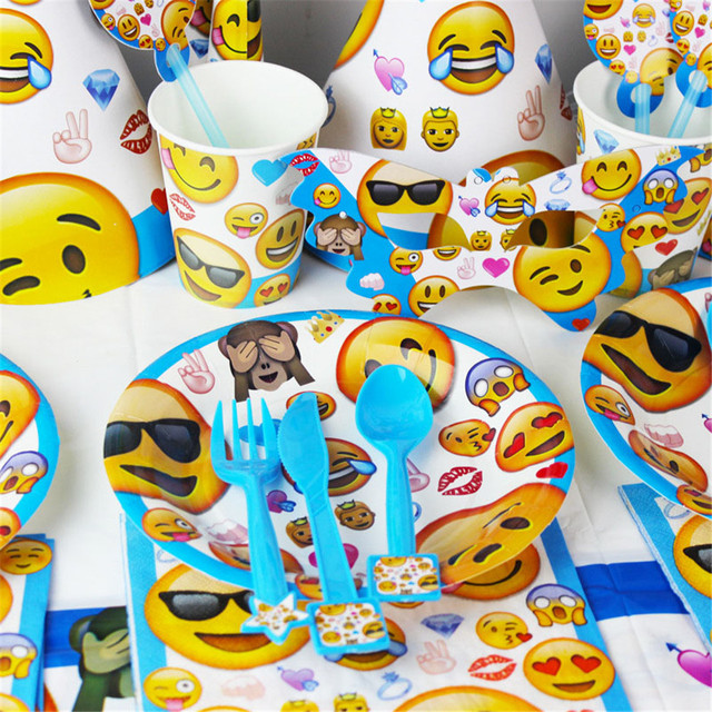 Party Supplies Baby Birthday Pack Event Emoji Cry Smile Kids Decoration