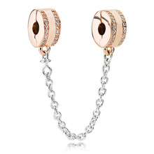 925 Sterling Silver Bead Charm Branded Rose Insignia Safety Chain Fit Original Pandora Bracelet Bangle Women DIY Jewelry Gift geoki 925 sterling silver rose gold white cubic zirconia clover silicone safety chain fit original pandora bracelet leaf charm