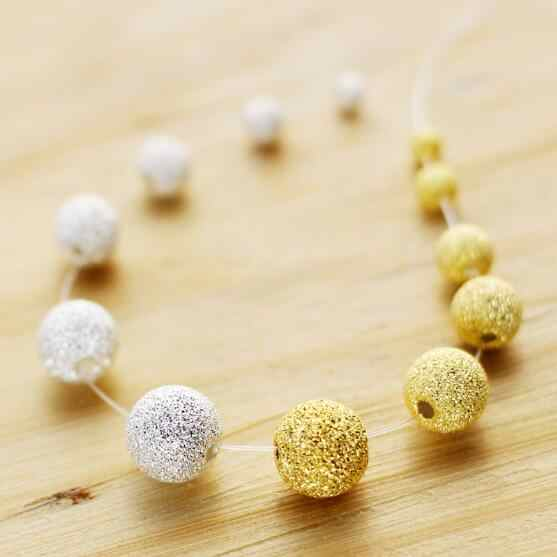 4mm 6mm 8mm 10mm Silver Gold Color Mixed Acrylic Stardust Round Ball Loose Matte Beads DIY Neckalce Jewelry Accessories ST08