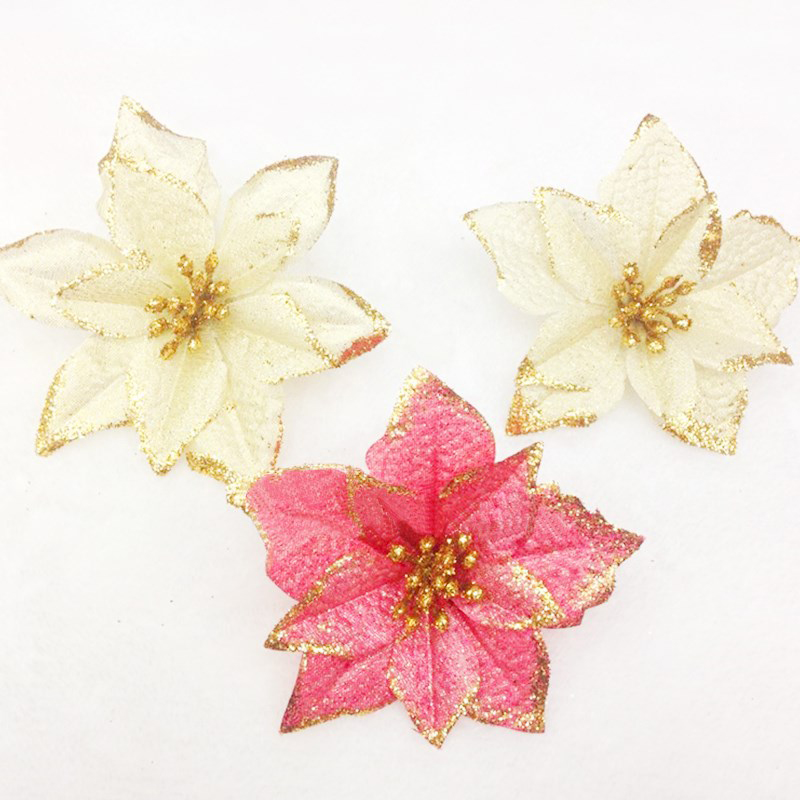 8pcs Glitter Flower For Christmas Decorations Xmas Event Party home Supplies