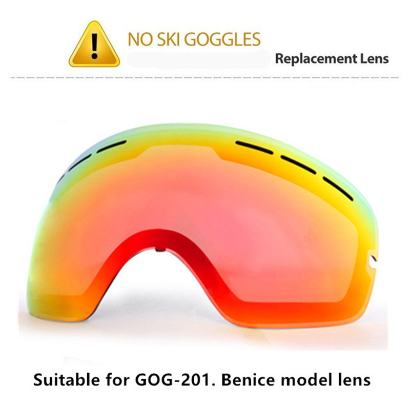 Original Lens Ski Goggles Lens Anti-fog UV400 Big Spherical Ski Glasses Snow Goggles Eyewear Lenses Replacement Only Lens